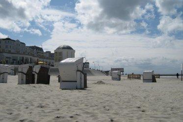 Het strand op Borkum - Strandkorf